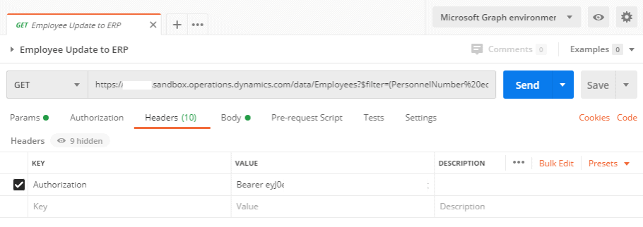 Example Postman GET Employee Call Dynamics 365 Finance and Operations for Healthcare.